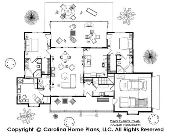 Dual Master Suite Floor Plan SG-1681-AA By Carolina Home