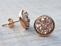 Rose gold earrings, bridesmaid gift, rose gold druzy ...