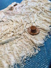 Making a raw wool locks shawl by wet felting with the Palm