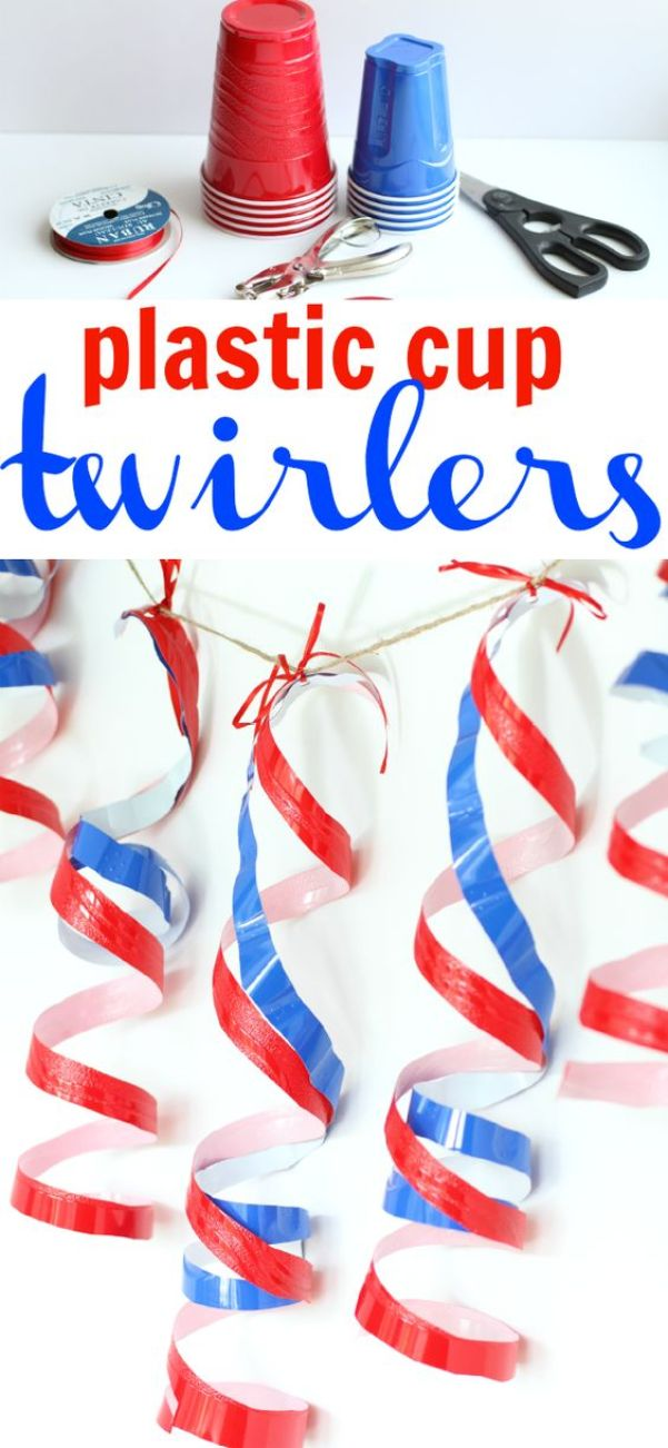 Plastic Cup Twirlers: The perfectly cheap 4th of July decoration using the ever-American red Solo Cups!: