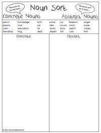 Abstract Nouns Worksheet For Grade 3