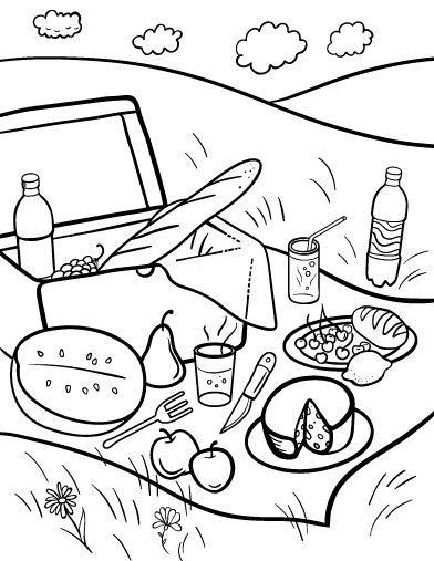 Printable picnic coloring page. Free PDF download at http