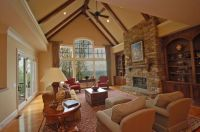 Great Room w/ vaulted ceiling and stone fireplace ...