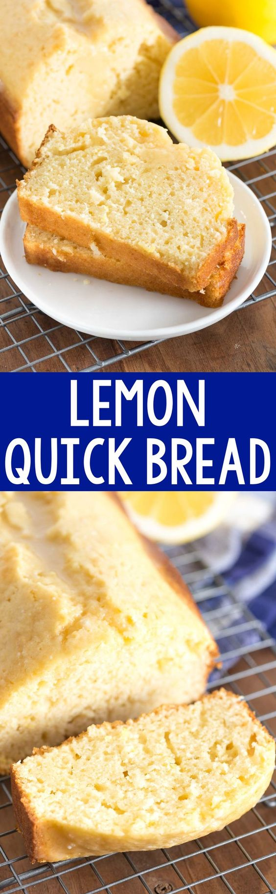 Lemon Quick Bread Recipe via Crazy for Crust - this easy quick bread recipe is bursting with lemon flavor. It's great for dessert or breakfast - with or without a lemon glaze!