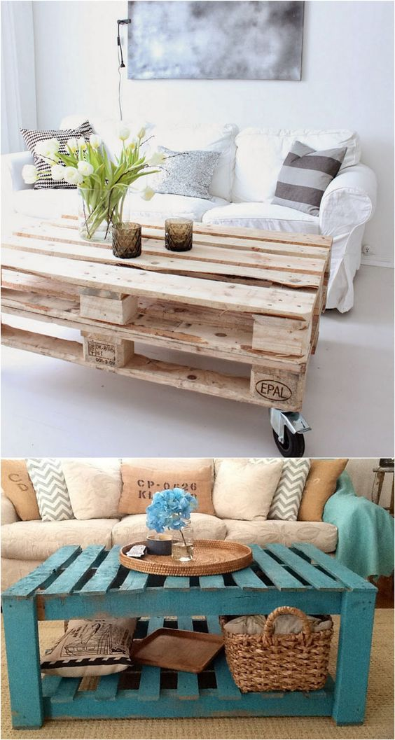 DIY Pallet Coffee Table Ideas   A Piece of Rainbow - 12 easiest and great looking pallet sofas and coffee tables that one can make in just an afternoon. Detailed tutorials and lots of great resources! - A Piece Of Rainbow