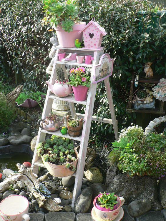 Old Ladder Garden Idea Put Grand Kids Potted Plants On The Ladder