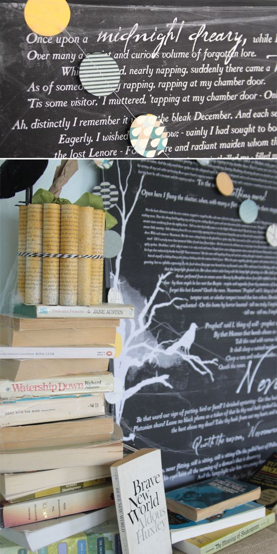 "book inspired Halloween mantle decor & ""The Raven"" free"