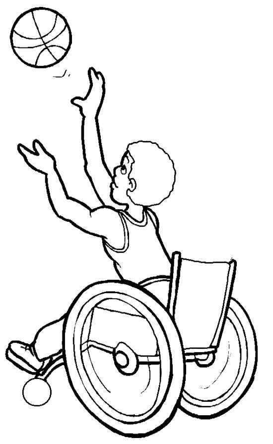 Athletes Basketball Disabilities Coloring Page