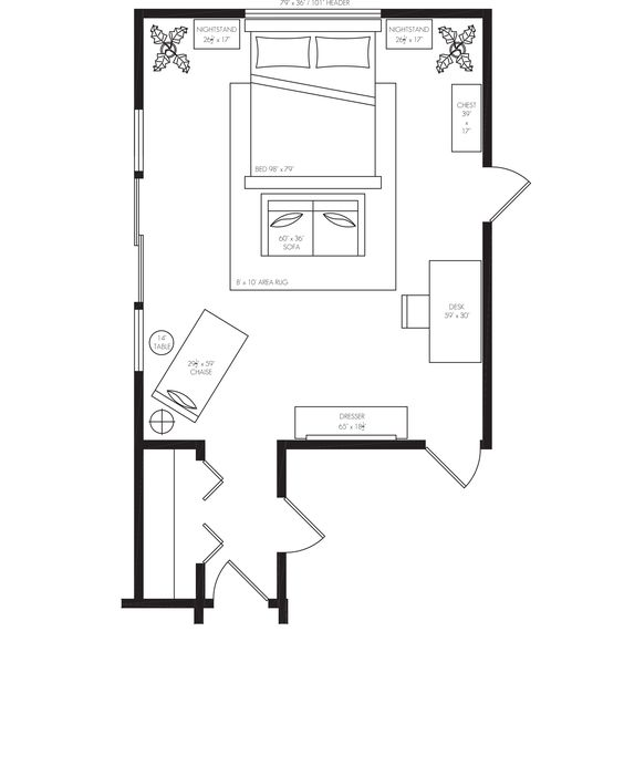 Master bedrooms, Furniture and Bedroom furniture layouts