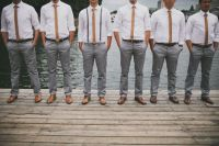 Gray slacks & skinny ties groomsmen | A Bohemian Chic ...
