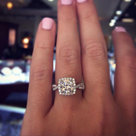 Princess cut, diamond halo, twisted diamond band perfect In love: