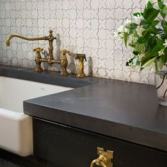 Vintage Style Kitchen Faucets Banquet Alys Beach Detail, Black Counters Paired With ...