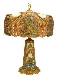 AN ANTIQUE AMERICAN ART NOUVEAU RAINBOW SLAG GLASS ...
