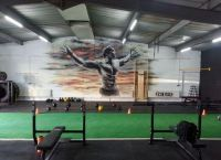 Very cool gym mural of Arnold