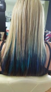 chunky blonde highlights with blue