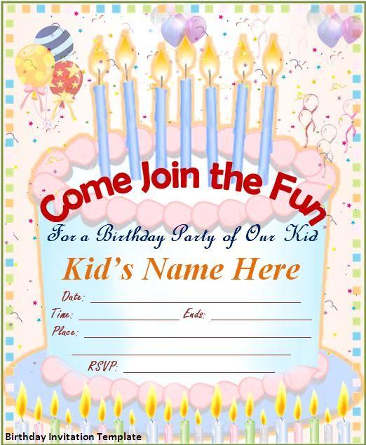 Birthday Invitation Card Template Word – Free Birthday Card Template Word