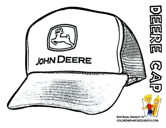 John Deere #Tractor Coloring Page of Baseball Cap. You Can