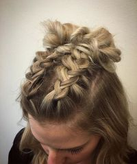 double dutch braids finished into buns for this cute ...