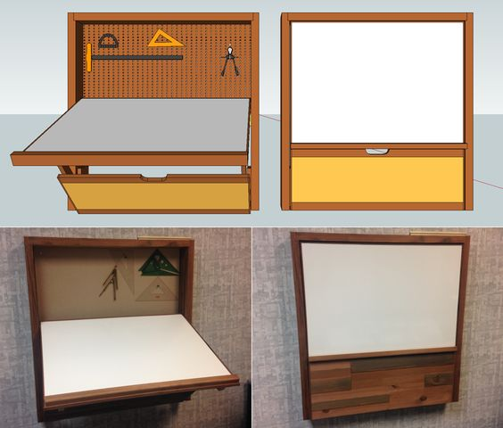 Fold out drafting table Designed in Sketchup, built from reclaimed redwood. drawing surface is an erasable whiteborad: