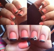 matte coral and black nails