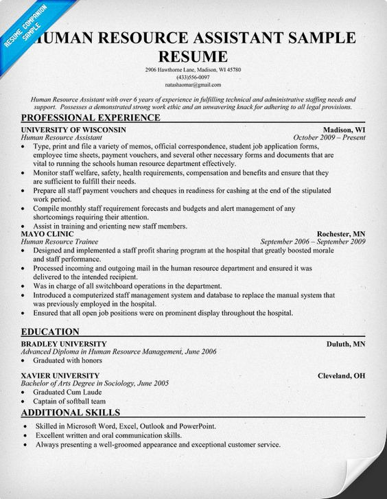Resume Resume examples and Human resources on Pinterest