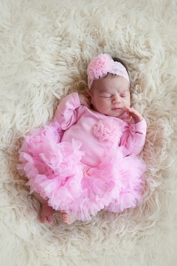 Newborn Girls Take Home Outfit Pink Bodysuit with Rosette Poof Headband and Pettiskirt: