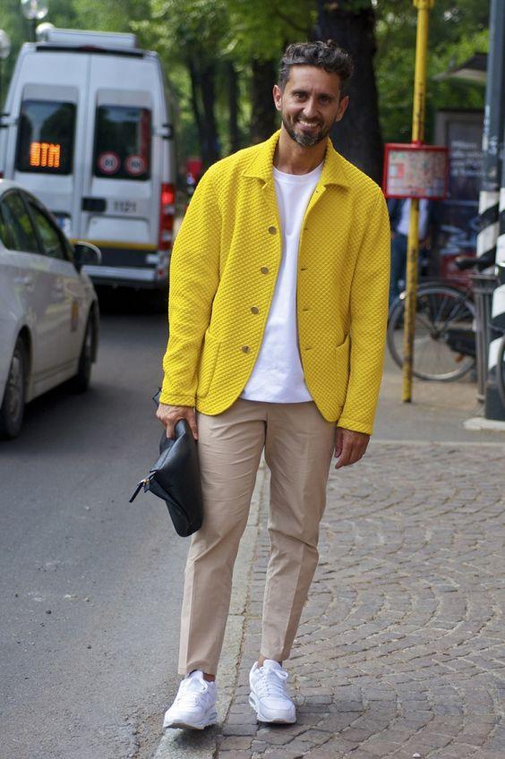 大人メンズの黄色コーデ