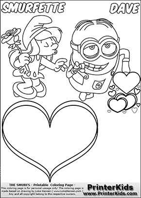 Coloring page with Smurfette trying to kiss with her eyes