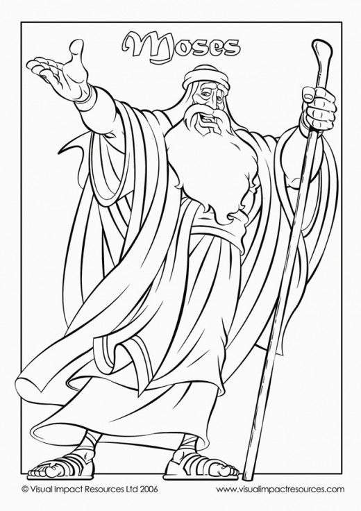 Moses holding a staff in his hand free coloring picture