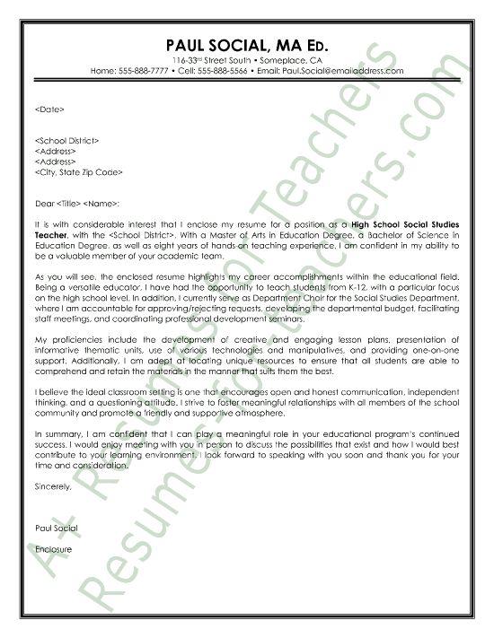Social Studies Teacher Cover Letter Sample  Teacher and