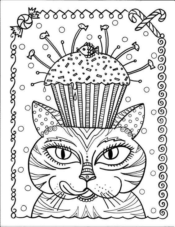 Instant Download kat en Cupcake kunst kleurplaten pagina