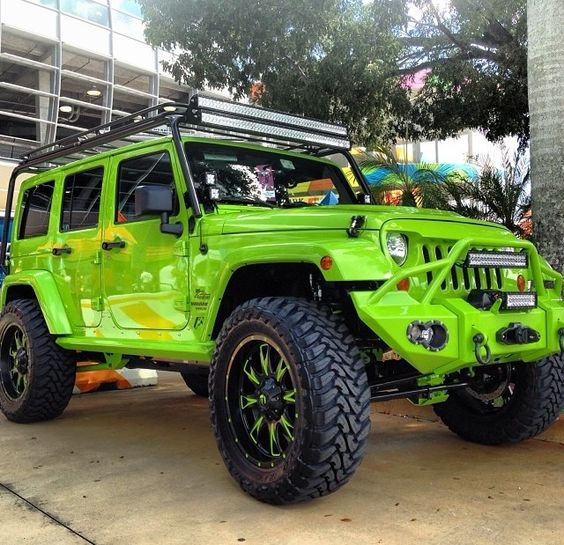 LIME GREEN 4 DOOR JEEP JK FOR THE FAMILY AND OF COURSE