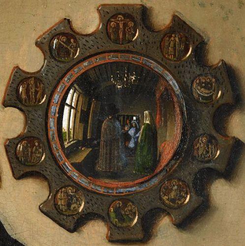 Jan van Eyck; 15. Jhdt.; Ardolfini Hochzeit; Signatur (Johann van Eyck war hier) mit spiegelverkehrter Abbildung; zeigt, dass weitere Personen hier waren - Betrachter wird in das Bild miteinbezogen: