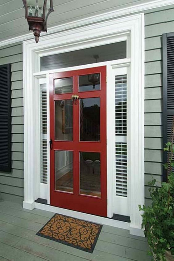Simple Dark Red Pella Storm Doors 6 Panel with Glass For