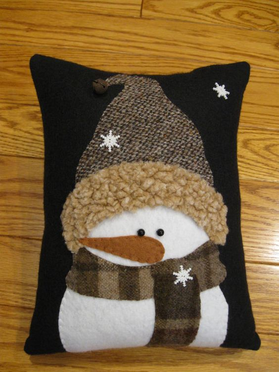 Winter Snowman PillowAll Bundled Up  Snowman