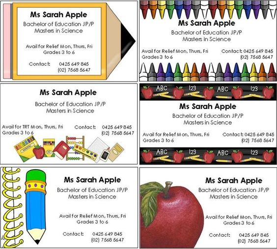 business cards for substitute teachers