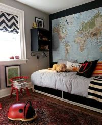 Wall map and window treatment! I want to do this for my ...