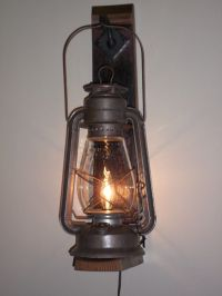 Rustic cabin lighting. Electric lantern wall fixture from ...