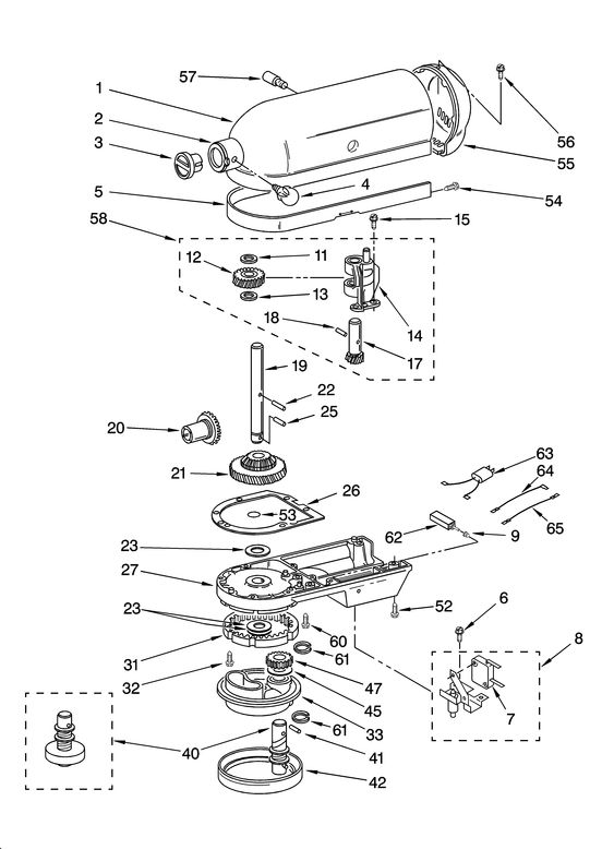 kitchen aid k5ss affordable table sets case, gearing and planetary unit diagram & parts list for ...