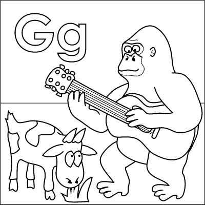 Letter G coloring page (Gorilla, Goat, Guitar, Grass) from