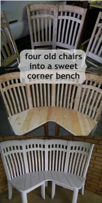 4 old wooden chairs repurposed and Recycled in one corner ...