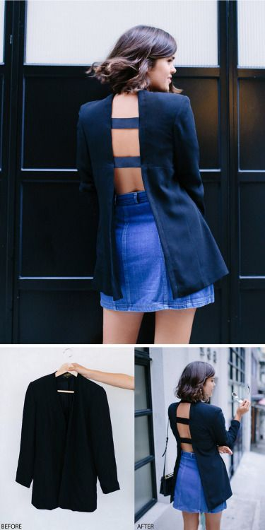 DIY Open Back Blazer.Take a thrifted blazer, or one you don't...
