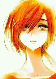 orange hair anime girl crying