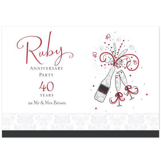 40th Ruby Anniversary Invitation Postcard-Hallmark UK