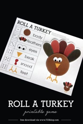 Print this adorable Roll a Turkey Children's Game for a little pre-Thanksgiving fun!: