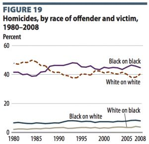 Image result for Homicides, by race of offender and victim, 1980–2008