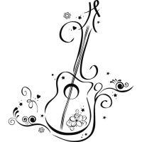 line art guitar | Floral Guitar Wall Art Decals Wall ...