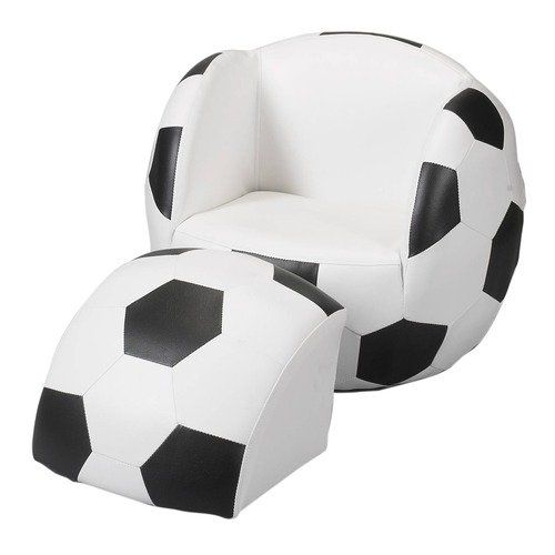 Childs Upholstered Soccer Ball Chair with Ottoman  Soccer
