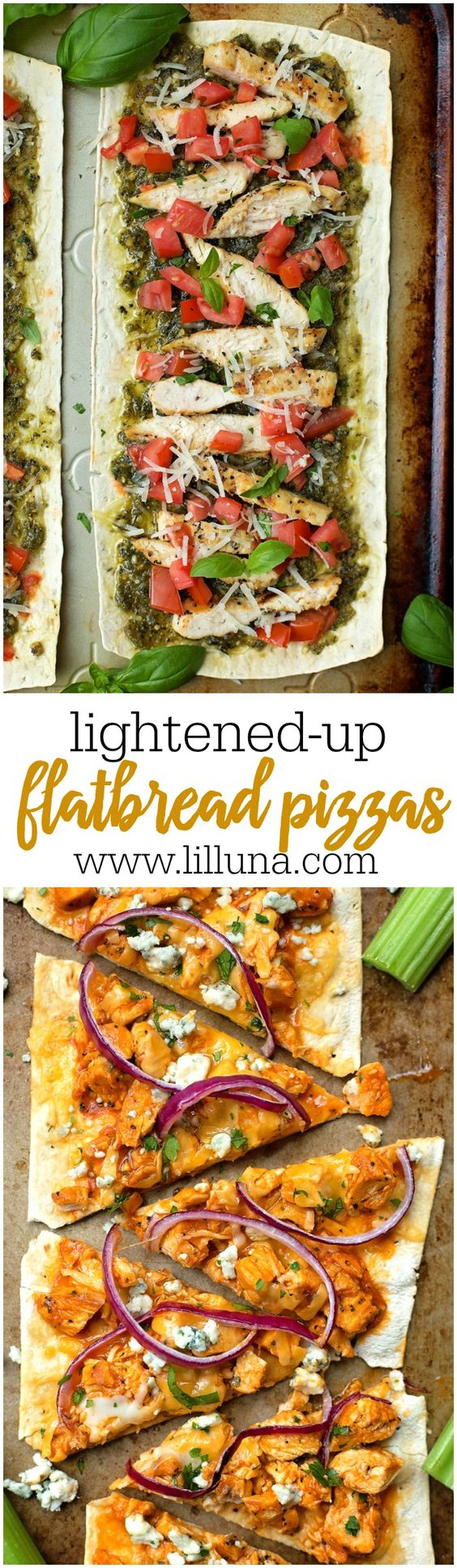 Lightened Up Flatbread Pizzas Recipes | Buffalo Chicken Pizza and Chicken Pesto pizza Recipes via lil' luna - lighter versions that are full of flavor!
