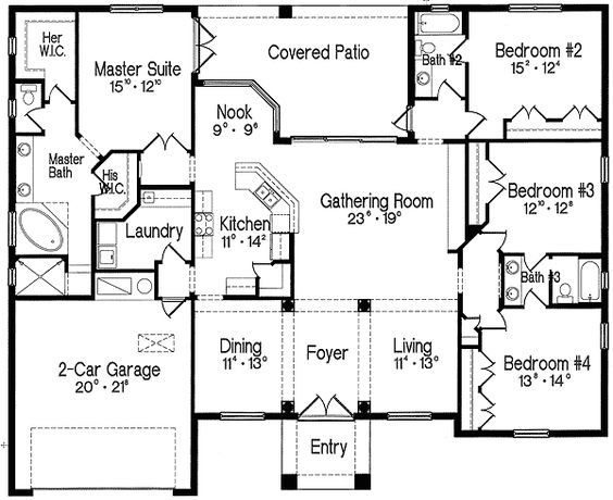 Plan 4293MJ: Split Bedroom One Story Living